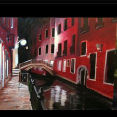 """"""" Venice Waterway at Night """" oil painting"""