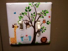 Light Switch Plate I Made For Kids Bathroom,which Is Jungle Themed