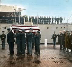 Unknown Soldier from World War I being taken from the USS Olympia at the Navy Yard and transported to the US Capitol to lay in state. On November 11, 1921 the body was intered at Arlington National Cemetery.