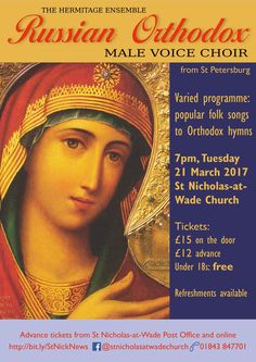 "Poster for the ""Russian Vocal Virtuosi"" concert by the Hermitage Ensemble in St Nicholas-at-Wade on 21 March 2017"