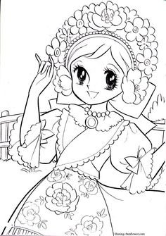 Vintage Japanese Coloring Book 9 Shoujo Coloring