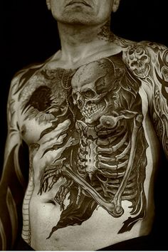 Chest Piece Skeleton Tattoo tattooideaslive #chestpiece #skull #tattoos