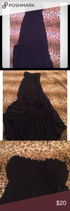 O'Neill strapless high low sundress🖤👗XS O'Neill strapless high low sundress🖤👗                              -Black, bottom ruffle, back tie mid back upper back is backless and lower back scoop, 100% Viscose                   - Size : XS O'Neill Dresses High Low