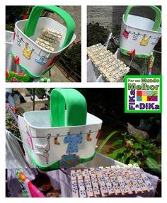 Fika a Dika - Por um Mundo Melhor: Potes de Sorvete: Ideias porta prendedor de roupa Home Crafts, Diy Crafts, Gelato, Repurposed, Bucket, Pets, Biscuit, Diy And Crafts, Decorated Boxes