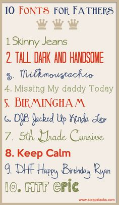 10 Fonts for Fathers from Scrap Stacks  ~~  {10 free fonts w/ links}