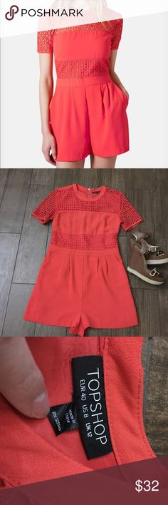🆕Listing Topshop eyelet romper size 8 worn once! Adorable Tooshop eyelet romper size 8. Beautiful coral reddish color. Eyelet pattern one chest and sleeves is see through. Eyelet barns on waist is lined. Pockets on front. Solid back with exposed zipper. Worn once. Topshop Shorts