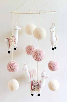 Handmade Llama Boho Baby Nursery Mobile | BohoBabyHeaven on Etsy