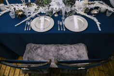 Www.clevents.ca #chantillylaceevents #cldesigns #winterwedding #tablescape #tablesetting #silver #navy #white #silverchargerplates #whitenapkins #vintageinspired #vintage #mixandmatch #tableswag #greenery #frostedgreenery