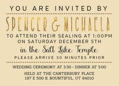 136 Best LDS Wedding Invitations Images In 2015