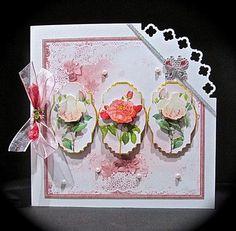 Vintage rose 8x8 panel card mini kit on Craftsuprint designed by Angela Wake - made by Cynthia Massey -