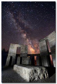 I'm not sure where this is.  It's not Stonehenge. Anyone know?   Altar of the Milky Way by .Bala on Flickr. :)   From magicalnaturetour.tumblr.com   via Barbara Lowe
