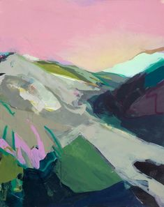 Abstract landscape painting in oil. 'Valley' by artist Amanda Hawkins. Love the pink sky and the layered paint effect. Abstract Nature, Abstract Landscape Painting, Landscape Art, Landscape Paintings, Abstract Art, Abstract Paintings, Mountain Paintings, Nature Paintings, Tree Paintings