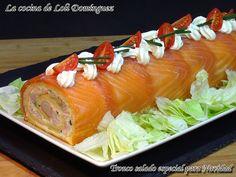 La cocina de Loli Domínguez: Tronco salado especial para Navidad My Favorite Food, Favorite Recipes, Tasty, Yummy Food, Chicken Salad Recipes, Bellini, Fish And Seafood, Popular Recipes, Food To Make