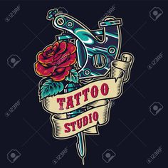 Tattoo salon vintage colorful badge with ribbon around professional tattoo machine and blooming rose isolated vector illustration Illustration , Professional Tattoo Machines, Tattoo Salon, Blooming Rose, Porsche Logo, Badge, Ribbon, Colorful, Adidas, Logos