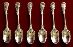 Eariest Version of Rococo Grand pattern teaspoons by Francis Harrache and John Derussat, circa late 1730s, marked with the crowned FH mark of Francis Harrache and three are marked JD with acorn above of John (I) Derussat. Two of the most important silversmiths in the history of the Rococo Naturalistic spoon shared the earliest design of the Rococo Grand pattern, in the same Huguenots community at Soho area of London, late 1730s. Length: 10.8cm and 11cm; Weight: 89grams.