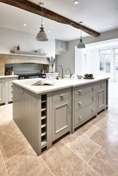 50 Beautiful Hampton Style Kitchen Designs Ideas - Image 4 of 50 Rustic Kitchen Cabinets, Kitchen Interior, Kitchen Decor, Kitchen Storage, Country Kitchen Island, Kitchen Ideas, Kitchen Drawers, Wine Storage, Storage Shelves