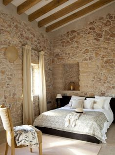 41 Superb Home Stone Interior Design Ideas You Need To Try Now Home, Rustic House, French Country Bedrooms, Country Cottage Decor, House, Interior Design, Stone Walls Interior, Country Bedroom, Stone Interior