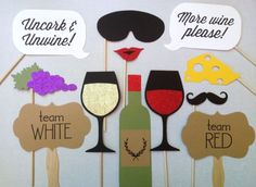 12 Wine Tasting GLITTER Photo Booth Props  Wine by CleverMarten, $24.00