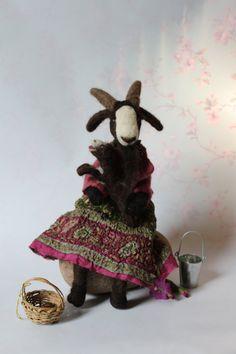 Beautiful OOAK Needle Felted Nanny Goat & Kid