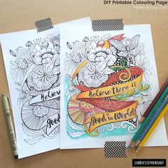 Inspirational quote adult coloring page.