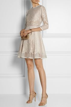 Elie Saab|Lace-appliquéd tulle and organza mini dress|NET-A-PORTER.COM