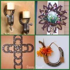 I love these decor with horse shoes idea. Horseshoe Projects, Horseshoe Crafts, Horseshoe Art, Horseshoe Ideas, Horseshoe Decorations, Welding Art, Welding Projects, Craft Projects, Projects To Try