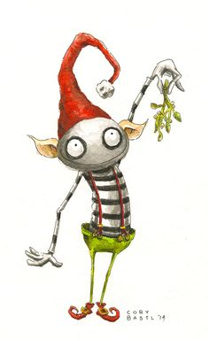 The Kissing Elf. High Quality Watercolor Print signed by artist Cory Basil 5x7 love love love this...