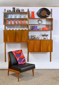 Danish Modern Teak Cado Style Wall Cabinet Modular Shelf Unit Wall Mounting Shelf System