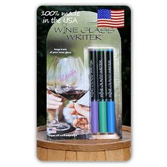 """Wine Glass Writer Spring 2012 Color by Wine Glass Writer. $12.95. Washes off with soap and water. Ships next business day. 100% Made in the USA. Dries in 1-3 minutes. Stays on for life of party. """"100% Made in the USA"""", three in a pack,( blue,purple, green) non toxic ink, write name on glass let dry 60 seconds, Write on glass wait 30 seconds for ink to become    vibrant as it sets  ? Stays on for life of party washes off with ease  ? Washes off with a sponge or dishw..."""