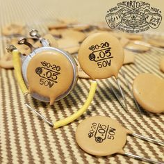 "NOS ""Orange Dime"" Ceramic Capacitor Arty's Custom Guitars Custom Bass, Fender Custom Shop, Custom Guitars, Guitar Picks Personalized, Custom Guitar Picks, Rory Gallagher, Fender Vintage, Vintage Guitars, Tom Petty"