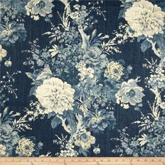Waverly Ballad Bouquet Blend Indigo Blue from @fabricdotcom  Screen printed on linen/rayon blend, this medium/heavyweight fabric is perfect for window accents (draperies, valances, curtains and swags), accent pillows, duvet covers, upholstery and other home decor accents. Colors include ivory and shades of indigo.