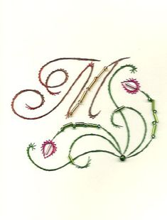Card With Initial M by HandmadeCardsByAnita on Etsy Green Colors, Pink Color, Initial M, Paper Embroidery, Picture Cards, Color Card, String Art, Card Sizes, Christmas Cards