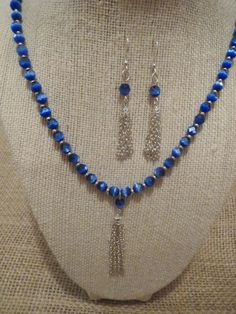 Tassel Earrings and Necklace with Blue Cats Eye by jazzybeads