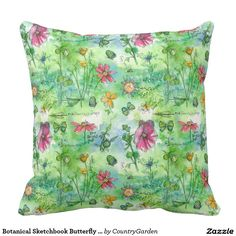 Botanical Sketchbook Butterfly Watercolor Flowers Throw Pillows
