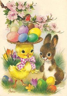 Vintage Greeting Cards – Vintage and antique items Easter Art, Easter Crafts, Easter Bunny, Vintage Greeting Cards, Vintage Postcards, Easter Illustration, Easter Pictures, Diy Ostern, Happy Easter