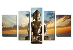 Funpark Framed Modern Buddha Print on Canvas 5 Panels Wall Art Painting Stretched Artwork *** Continue to the product at the image link. (This is an affiliate link)