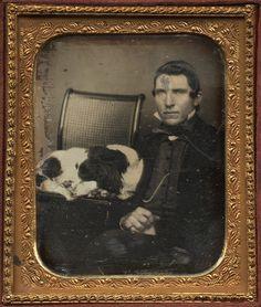 ca. 1850's, [daguerreotype portrait of a gentleman with his springer spaniel] via Charles Schwartz Photography