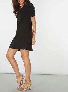 Womens Black Puff Sleeve Shift Dress- Black