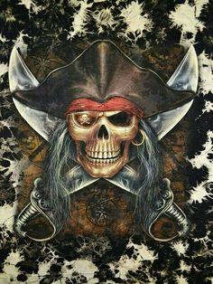 Pirate Skull by Pirate Art, Pirate Skull, Pirate Life, Pirate Ships, Pirate Flags, Pirate Decor, Pirate Tattoo, Pirates Cove, Pirate Treasure