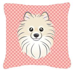 Checkerboard Pomeranian Indoor/Outdoor Throw Pillow