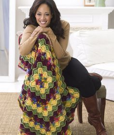 Use this free crochet afghan pattern to make a Beautiful Bright Catherines Wheel Throw to decorate your home with. Work from the center out, adding amazing squares with these bright fall colors. crochet-afghans-and-pillows All Free Crochet, Crochet Baby, Knit Crochet, Free Knitting, Crochet Afghans, Crochet Blankets, Crochet Ripple, Crochet Crafts, Crochet Projects