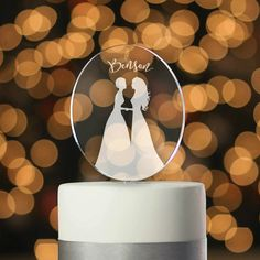 Personalized Mrs & Mrs Silhouette Cake Topper, Same-sex Cake Topper, Lesbian Cake Topper   Taylor Street Favors Silhouette Wedding Cake, Silhouette Cake, Gay Wedding Cakes, Lesbian Wedding, Engagement Cake Toppers, Engagement Cakes, Birthday Cake Toppers, Wedding Cake Toppers, Wedding Cake Fresh Flowers
