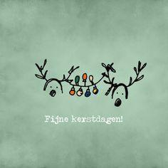 Kerstkaart Rendier lampjes, verkrijgbaar bij #kaartje2go voor €1,89