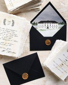 Calligraphy romantic wedding invitation with custom envelope liner featuring the watercolor venue / © PAPIRA invitatii de nunta personalizate