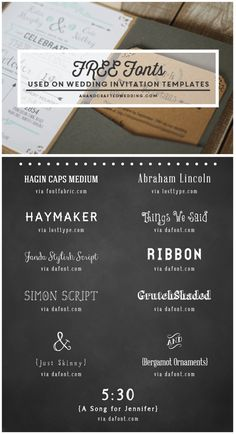 FREE Fonts to use on Rustic or Vintage Inspired Invitations + download a FREE Printable Wedding Invitation and Details Card! MountainModernLife.com