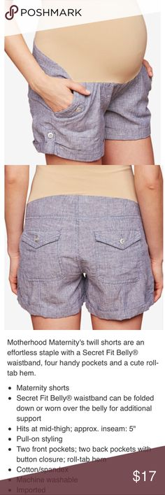 {MOTHERHOOD MATERNITY} EUC - Worn once. See photo for description and details. Size M. Navy stripe twill shorts. Adorable and perfect for casual wear. Motherhood Maternity Shorts