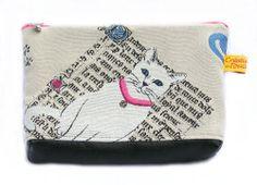Trousse pochette tissu chat blanc collier rose : Trousses par toucan