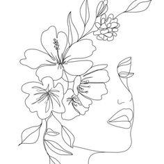 Line Art Flowers, Flower Art Drawing, Drawing Art, Line Art Tattoos, Outline Art, Abstract Line Art, Diy Canvas Art, Art Drawings Sketches, Minimal Drawings