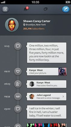 nice take on a mobile timeline, aggregating social interactions