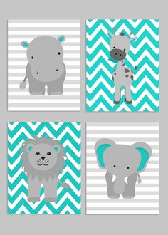 Zoo Nursery Decor, Gray and Teal Nursery, Girl Zoo Nursery, Elephant Nursery, Safari Nursery, Jungle Decor, Hippo, Giraffe, Zoo Canvas Art by SweetPeaNurseryArt on Etsy